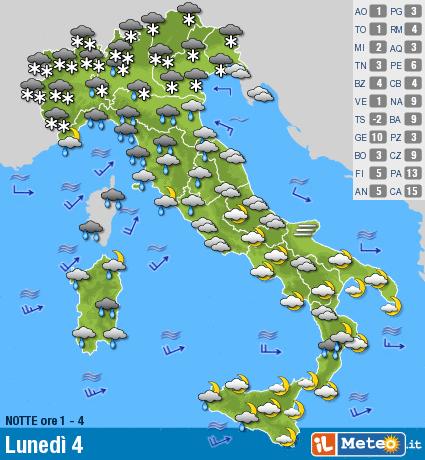Meteo, arriva la neve in Lombardia